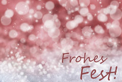 Red Bokeh Background, Snow, Frohes Fest Means Merry Christmas Stock Photos