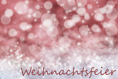 Red Bokeh Background, Snow, Weihnachtsfeier Means Christmas Party Stock Photos
