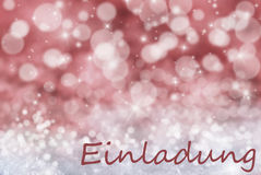 Red Bokeh Christmas Background, Snow, Einladung Means Invitation Royalty Free Stock Photos