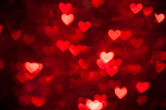 Red bokeh of hearts background Royalty Free Stock Photo