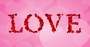 Red bokeh love word write on pink hearts shape background, valentine day holiday event stock video