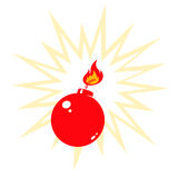 Red bomb. Retro illustration of red bomb Stock Photography