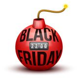 Red Bomb About To Blast with Black Friday sales Stock Photo