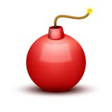 Red Bomb About To Blast with burning wick. Vector Stock Photo