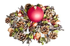 Red bomblet on christmas decorations Stock Photo
