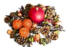 Red bomblet and other christmas decorations Royalty Free Stock Image