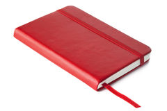 Red Book. Red leather covered book, with ribbon placemark, isolated on white with soft shadow Stock Photography