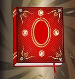 Red book. On an abstract background of a big red book, decorated with gold and jewels Stock Photography