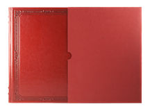 Red book with blank hardcover. Isolated on white Royalty Free Stock Photos