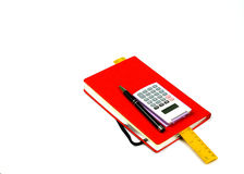 Red book,calculator,pen and ruler Stock Photos