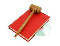 Red book with cd and gavel isolated Stock Photos