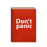 Red book with Dont panic text on cover isolated Royalty Free Stock Image