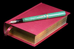 Red Book And Fountain Pen Stock Photography