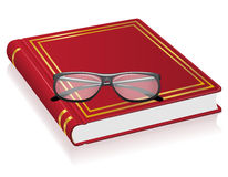 Red book and glasses vector illustration Stock Photo