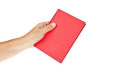 Red book with hand. Isolated on white background Stock Photos