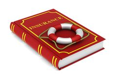 Red book and lifebuoy on white background. Isolated 3d illustrat. Ion Royalty Free Stock Image