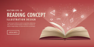 The red book are open, the icon refers to knowledge and learning Stock Photos