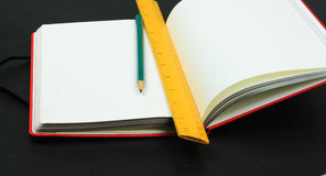 Red book,pencil and ruler Royalty Free Stock Image