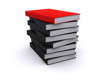 Red book on the pile of lack books. Red glossy book on the pile of black books Stock Photo