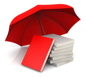 Red Book with Red Umbrella. 3D Rendering Stock Photos