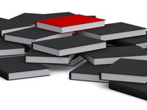Red book is on top. A group of black books, one red important one Royalty Free Stock Images