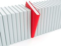 Red book within white ones Royalty Free Stock Images