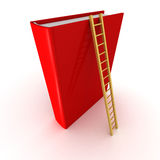 Red book with wooden ladder. success education concept Royalty Free Stock Images