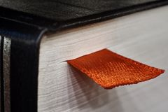 The red bookmark in the book stock images