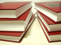 Red books. Hard cover books in the library Stock Photography