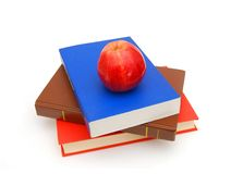 Red books and apple Royalty Free Stock Photography
