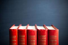 Red books and blackboard Royalty Free Stock Photo
