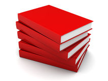 Red books. 3d illustration of red books stack, over white background Stock Image