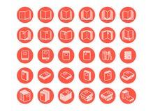 Red books icon set Stock Photo
