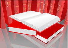 Red books. Library with an open book Royalty Free Stock Photography