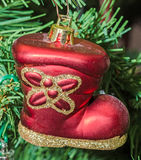 Red boot Christmas ornament tree, detail, close up Royalty Free Stock Photography