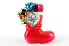 Red boot with ornaments Royalty Free Stock Images