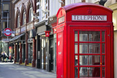 The Red Booth. A red telephone box in the UK royalty free stock photography