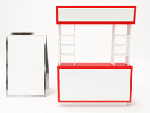 Red booth modern with exhibition stand Stock Photo