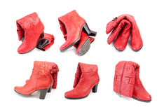 Red boots. On a white background Stock Photo