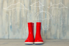 Red boots Stock Photo