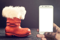 Red boots of Santa Stock Photography