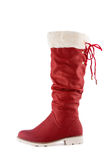 Red boots on a white Stock Images