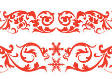 Red border. Two Red color floral borders with snowflakes Stock Images