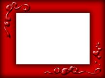 Red border. With two bows and hearts Vector Illustration