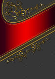 Red border with gold pattern. On black background in flecked royalty free illustration