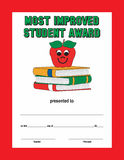 Red border green text most improved student award Royalty Free Stock Image