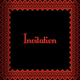 Red border. Invitation template with red metalic border on black background Stock Photos