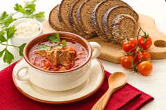 Red borsch. Ukrainian and russian national red borsch with herbs & spice stock photography