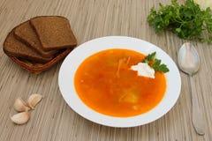 Red borsch. Red Bords garlic, parsley, black bread, Ukrainian cuisine Royalty Free Stock Images
