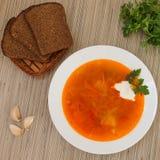 Red borsch. Red Bords garlic, parsley, black bread, Ukrainian cuisine Stock Image